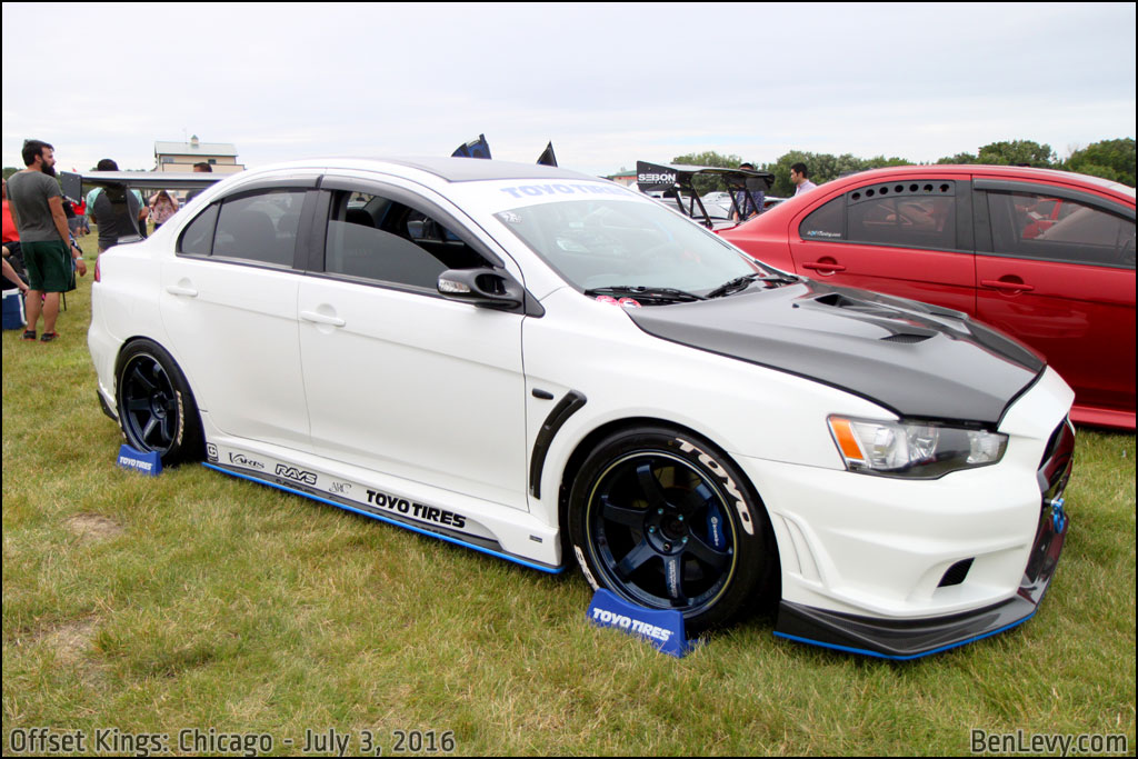 White Evo X with Volk Racing wheels - BenLevy.com